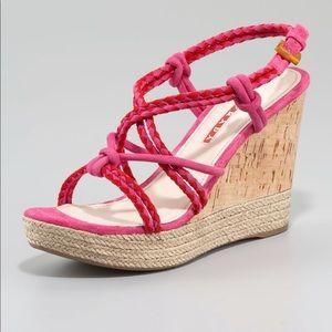 Prada suede wedge sandals size 37  1/2